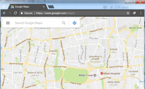 تصویری از محیط گوگل مپ